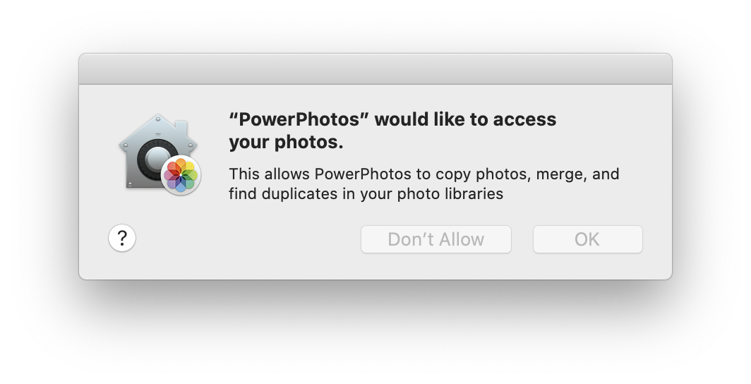 Photos access control permission prompt